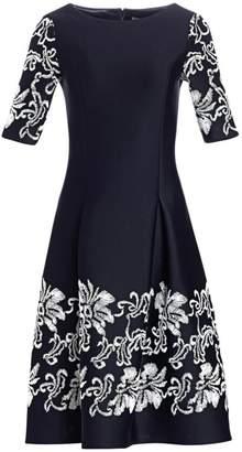 Teri Jon By Rickie Freeman Lace Applique Short-Sleeve Dress