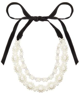 Simone Rocha Floral Faux Pearl And Crystal Necklace - Womens - Pearl