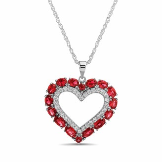 Inspired By You Simulated Gemstone And Cz Heart Necklace