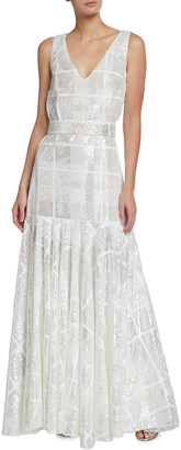 Halpern Check Sequin V-Neck Drop Waist Gown