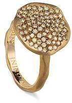 Antonini 18K Rose Gold Round Anniversary Pave Champagne Diamond Ring