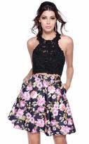 Shail K - Two Piece Lace Floral Skirt with Criss Cross Back 4023