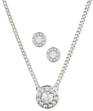 Givenchy Stone & Crystal Halo Pendant Necklace & Stud Earrings Set