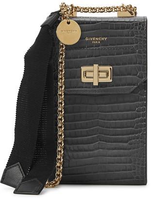 Givenchy Grey crocodile-effect cross-body phone case