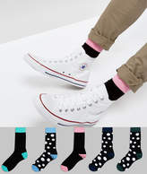 Asos Socks With Extended Sizing In Contrast Polka Dot Design 5 Pack