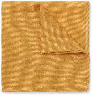 Anderson & Sheppard Wool And Silk-blend Pocket Square - Orange