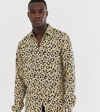 Asos Design DESIGN Tall regular fit animal print shirt-Brown