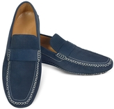 Moreschi Portofino - Navy Blue Perforated Suede Driver Shoes