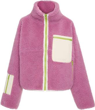 Sandy Liang Ponyo Leather-Paneled Wool-Blend Fleece Jacket