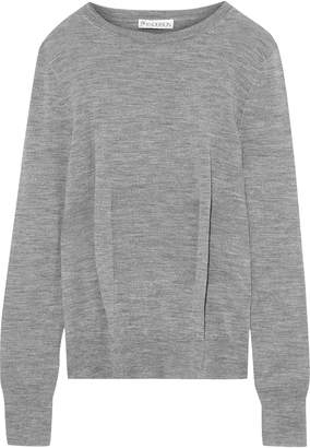 J.W.Anderson Pleated Melange Merino Wool Sweater