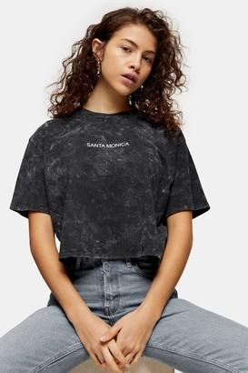Topshop Womens Petite Santa Monica T-Shirt - Washed Black