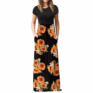 Xmiral Dress Women Short Sleeve O-Neck Polyester Maxi Boho Floral Sundress Chic Dresses for Party Wedding Evening Plus Size(Blue 3XL)