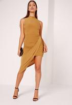 Missguided Slinky High Neck Drape Bodycon Dress Yellow