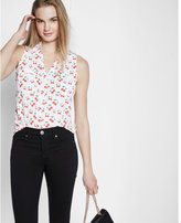 Express cherry lattice shoulder sleeveless portofino shirt