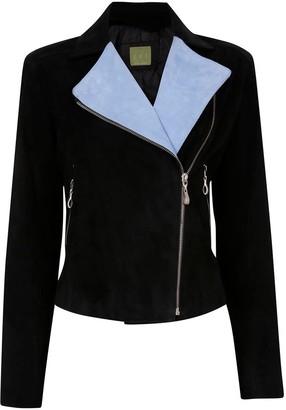 Zut London Softest Suede Leather Biker Jacket - Blue/Black