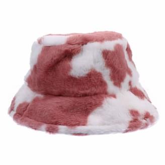 VALICLUD Winter Hat Cow Printed Bucket Hat Faux Fur Fisherman Hat Cow Pattern Bucket Cap for Women Pink