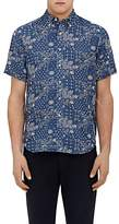 Barneys New York MEN'S PAISLEY-PRINT LINEN-COTTON SHORT-SLEEVE SHIRT