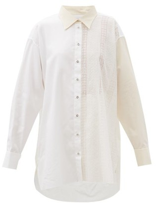 Marques Almeida Oversized Panelled Upcycled-cotton Shirt - White