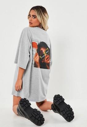 Missguided Petite Gray Carpe Diem T Shirt Dress
