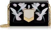 Jimmy Choo LOCKETT MINAUDIERE/S Hummingbird Motif Mosaic Black Acrylic Clutch Bag