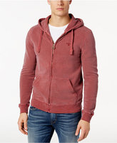 Barbour Men's Biking Red Garment-Dyed Full-Zip Cotton Hoodie