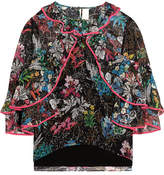 Peter Pilotto Ruffled Printed Silk-georgette Top - Black