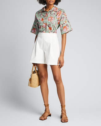 Fuzzi Seashell Poplin Button-Down Top