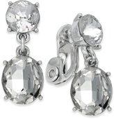 Charter Club Silver-Tone Crystal Clip-On Double Drop Earrings, Created for Macy's