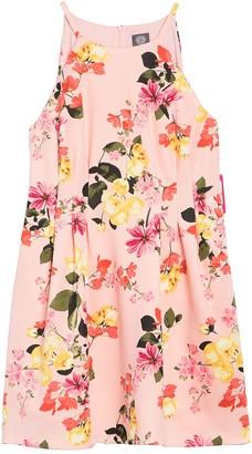 Vince Camuto Halter Neck Floral Print Scuba FIt & Flare Dress (Plus Size)
