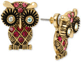 Betsey Johnson Gold-Tone Pink Pavé Owl Earring Jackets