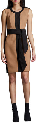 Toccin Colorblock Tie-Front Sleeveless Sheath Dress