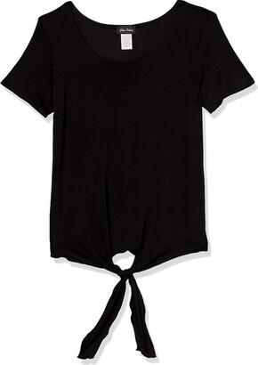 Star Vixen Women's Petite Short Sleeve Classic Tiefront Rayon/Spandex Knit Top