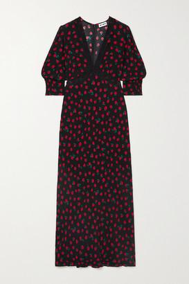 Rixo Gemma Lace-trimmed Floral-print Crepe Midi Dress - Black