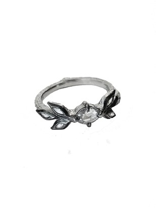 Cathy Waterman Diamond Marquise Leaf Platinum Ring
