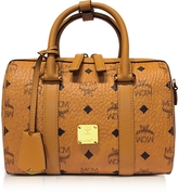 MCM Small Cognac Signature Visetos Original Boston Bag
