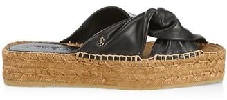Jimmy Choo Daja Leather Espadrille Flatform Slides