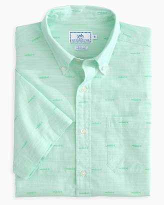 Southern Tide Seagrass Short Sleeve Button Down Shirt