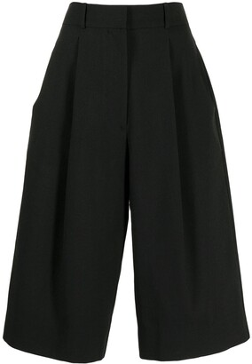Low Classic Crop-Leg Tailored Culottes