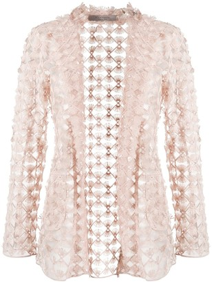 D-Exterior Embroidered Sheer Blazer