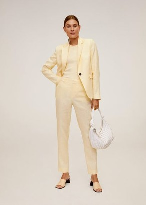 MANGO Linen-blend pants white - 2 - Women