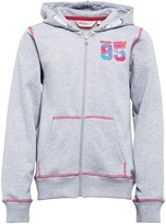 Board Angels Girls Zip Through Hoody With Chest Print And Contrast Stitching Grey Marl