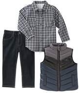 Calvin Klein Check Woven Shirt, Colorblock Puffer Vest & Jeans Set (Baby Boys)