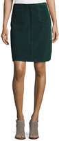 MiH Jeans Coda Suede A-Line Skirt, Bottle Green