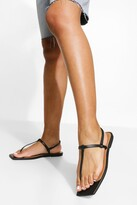 Thumbnail for your product : boohoo Leather Square Toe Basic Sandals