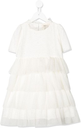 Douuod Kids Speckled Tiered Tulle Dress
