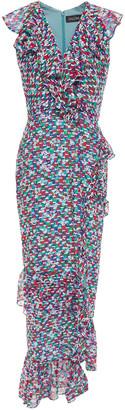 Saloni Anita Ruffled Floral-print Fil Coupe Silk-blend Midi Dress