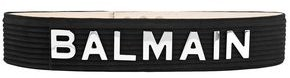 Balmain Logo-appliqued Quilted Suede Belt