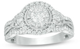 Zales 7/8 CT. T.W. Diamond Frame Vintage-Style Engagement Ring in 14K White Gold