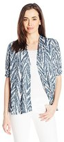 Notations Women's Elbow Ruched Sleeve Cozy Cardigan with Solid Knit Inset and Crochet Trim 2fer