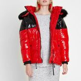 River Island Womens Red colour block oversized puffer coat